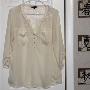 Express Cream Blouse with Lace